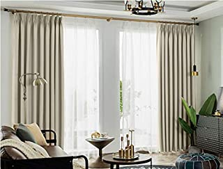 IYUEGO Pinch Pleat Solid Thermal Insulated 95% Blackout Patio Door Curtain Panel Drape for Traverse Rod and Track, Beige 52
