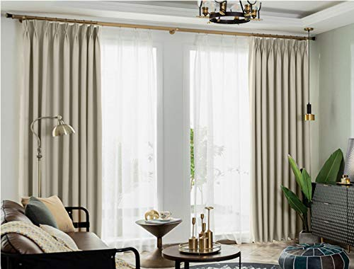 "IYUEGO Pinch Pleat Solid Thermal Insulated 95% Blackout Patio Door Curtain Panel Drape for Traverse Rod and Track, Beige 100"" W x 84"" L (One Panel)"