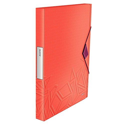 Leitz, A4 Ablagebox, Für bis zu 250 Blatt A4, 3 cm Rückenbreite, Gummibandverschluss, PP-Material, Rot, Urban Chic, 39990024