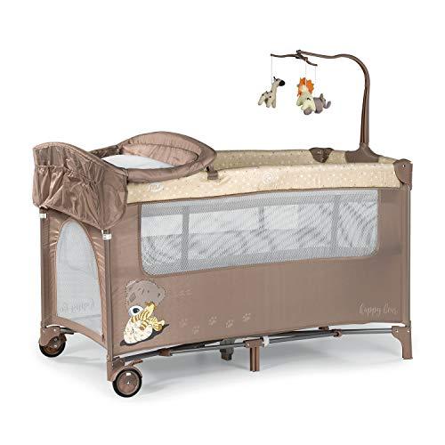 Innovaciones MS 630226 - Cuna De Viaje con Dos Alturas, hasta 15 kg, altura recién nacido, con apertura lateral, ruedas, colchón, cambiador bebe, bolsa de transporte, plegable y regulable , Beige