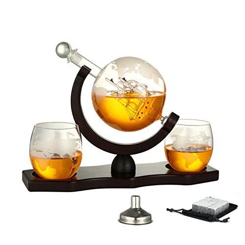 Decantador de whisky - Juego de botellas de whisky de 900 ml con 2 vasos de whisky del mundo para licor, escocés, bourbon, vodka, los mejores regalos para padre y esposo