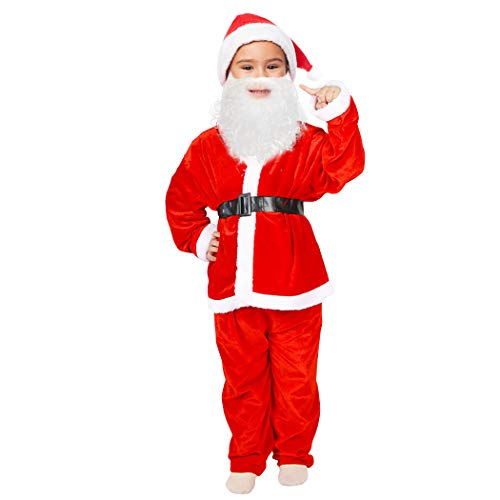 Kids Christmas Santa Claus Costumes for Toddlers Boys Santa Suits Girls Children's Costumes (6-9 Years, Red)