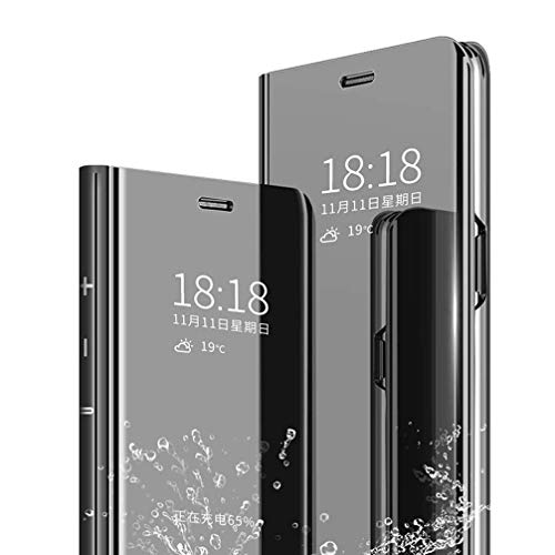 Anyos Compatible iPhone 11 Mirror Flip Case, Translucent Clear View Electroplate Full Body Shockproof Bulit in Kickstand Luxury Flip Case Cover 6.1 inch (Black)