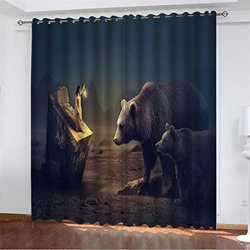 NQING Cortinas Perforadas Impresas Digitalmente De La Serie Animal Girl 3D, Cortinas De Poliéster Opacas Y De Reducción De Ruido 2xAN140xAL220cm