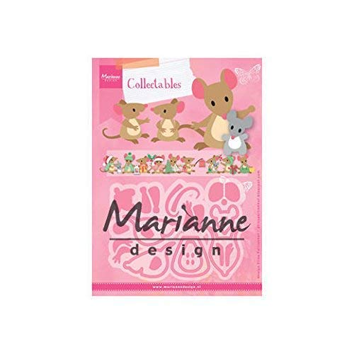 Marianne Design Collectables Fustelle Famiglia Topo, Metal, Pink, 21x15x3 cm