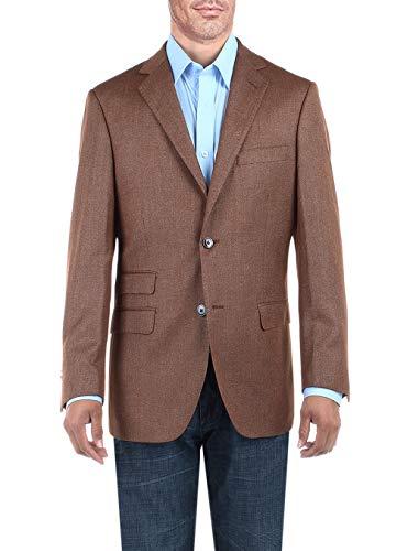 DTI BB Signature Men's Two Button Birdseye Suit Jacket Modern Fit Blazer Coat (46 Regular US / 56R EU, Amber Brown)