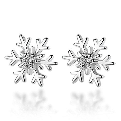 Celebrity, orecchini a perno con fiocco di neve in argento Sterling S925da donna, idea regalo e Argento, colore: White, cod. EYY17110101