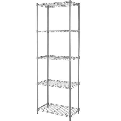 EZOWare Bathroom Storage Shelf, 4-Tier Collapsible Narrow Storage Organizer Rack Accent Tower Display Shelving – Beech Wood