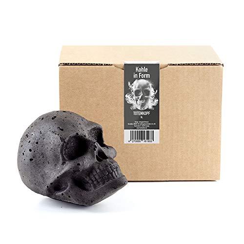 FORMKOHLEN XL Totenkopf   Perfektes Grill Geschenk für Männer, Topping für den Grill, Mitbringsel zum Grillen, Gothic Deko, Halloween Deko, Totenkopf Deko