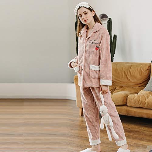 YHSW Conjunto de Pijamas de Lana para Mujer,Pantalones de Manga Larga para Mujer,Pijamas súper Suaves y cómodos, Mujeres (M-XXL)