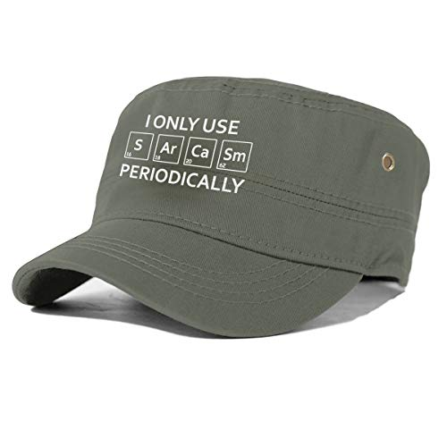 gjhj Sarcasm Chemistry Element - Gorra de algodón Militar con Parte Superior Plana, Unisex, Ajustable, Verde Musgo, Talla única