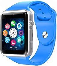 A1 Reloj Inteligente Bluetooth Reloj de Pulsera Deportivo podómetro con cámara SIM Smartwatch para Android Teléfono Rusia T15 GT08 DZ09 Q18 Y1 v8 (Azul, Paquete al por Menor)