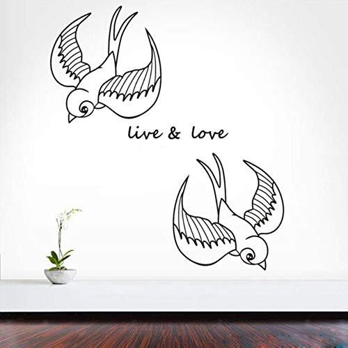 Dalxsh Leben Und Liebe Schwalben Wandaufkleber Für Kinderzimmer Diy Home Decor Vinyl Abnehmbare Wasserdichte Wandkunst Aufkleber Dekoration