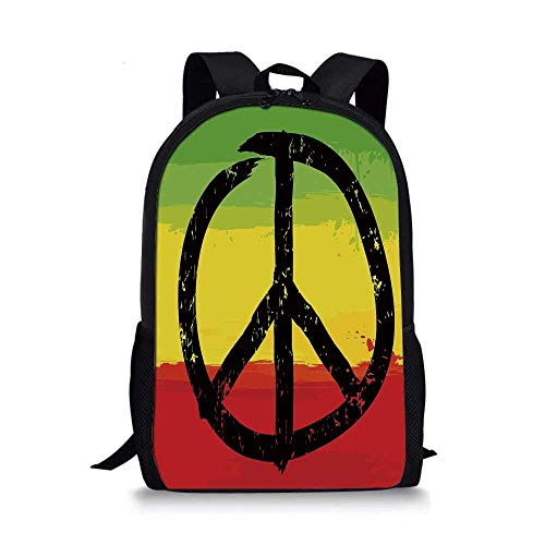 AOOEDM Backpack Rasta Stylish School Bag,Grunge Style Watercolor Design African Flag Colors Hippie Peace Sign Decorative for Boys,11''L x 5''W x 17''H