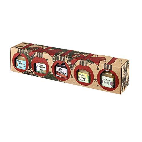 Puntzelhof Weihnachts Genuss-Box – Feinkost Geschenk-Set: 4x Feinkost-Senf (Bergkräuter, Bärlauch, Feigen, Birnen) & 1x Chili-Paprika-Gelee in der Weihnachtlichen Geschenkbox