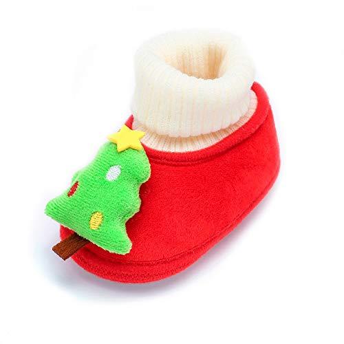 LEXUPE Baby Stiefel Baby-Mädchen-Winter-warme Schneeschuhe Weihnachtsschuhe Säugling Krabbel Hausschuhe für 0-18 Monate(Grün,130)