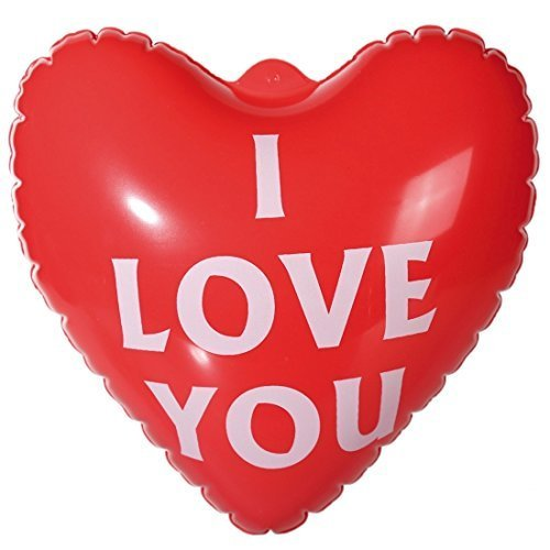 I Love You 55cm Inflatable Red Heart Balloon Valentines Anniversary Gift by With Love
