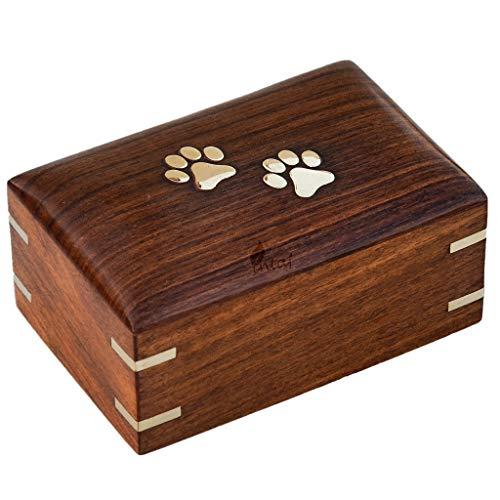 INTAJ - Urnas para cenizas de perro hechas a mano de palisandro, urna de madera para cenizas, urnas hechas a mano para perros/gatos, cenizas de mascotas, caja de urna funeraria de recuerdo conmemorativo (dos patas, XS – 5 x 3 x 2)