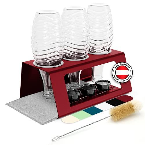 Flaschenhalter für SodaStream Flaschen [Made in Tirol] Abtropfhalter kompatibel mit Soda Stream Crystal, Duo, Easy, Fuse, Sodastar UVM + Flaschenbürste, 2 Abtropfmatten, Anti-Rutschnoppen