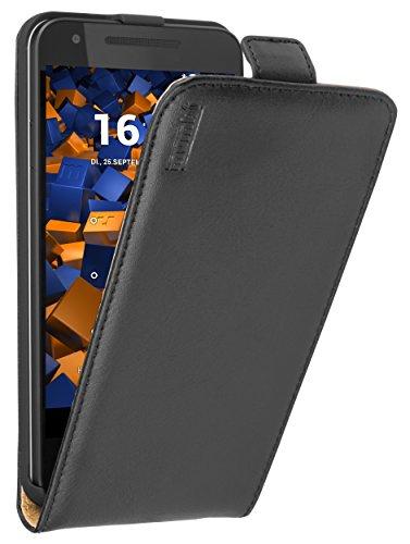 mumbi PREMIUM Custodia in vera Finta Pelle compatibile con Nokia Lumia 630/635, nero