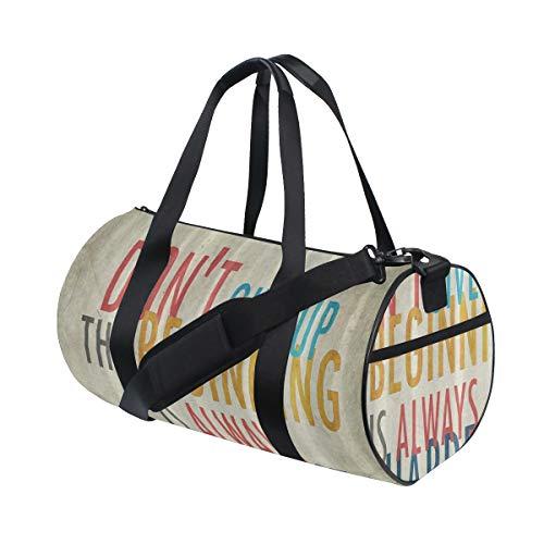 ZOMOY Sporttasche,Old Grunge Vintage Nicht aufgeben Zitat Muster,Neue Bedruckte Eimer Sporttasche Fitness Taschen Reisetasche Gepäck Leinwand Handtasche