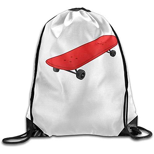 AllenPrint Drawstring Backpack,Red Skateboard Hilfreiche Tagesrucksäcke Mit Kordelzug Für Teenager-Schulcamping 36x43cm