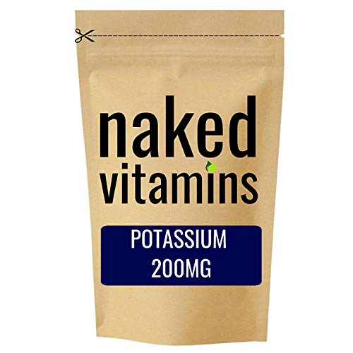 Potassium 200mg Tablets - 100 Pack - Supports Normal Blood Pressure, Muscle Function & Nervous System Function - Suitable for Vegetarians & Vegans - Made in The UK by nakedvitamins