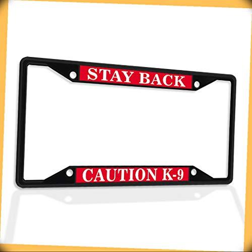 New Metal Aluminum Alloy Black B4K License Plate Frame Insert Stay Back Caution K-9 Dog Police B Frame #FSt-02685B4K Warranity by PrMch