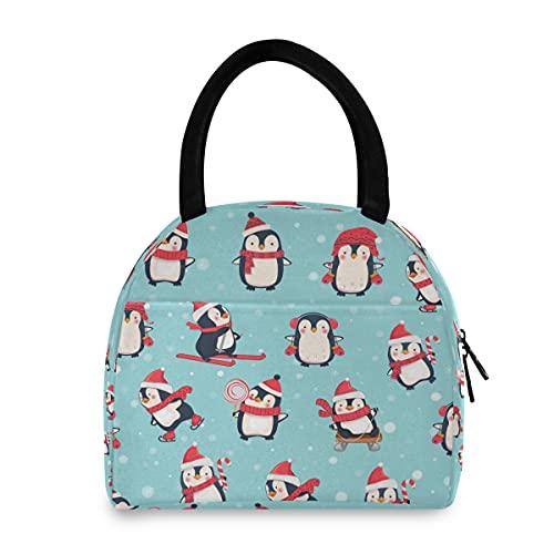 ECHOLI - Bolsa de almuerzo con aislamiento térmico para invierno, diseño de pingüino de Navidad, ideal para hombres, mujeres, niños, trabajo, picnic, senderismo