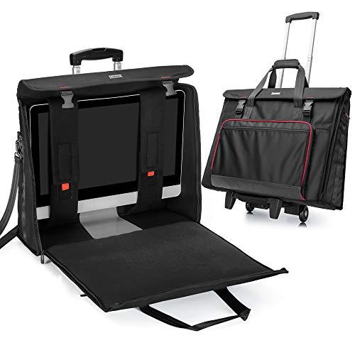 CURMIO Bolsa de Transporte rodante con Ruedas Compatible con el Ordenador de sobremesa Apple iMac de 27 Pulgadas, maletín de Transporte, Negro
