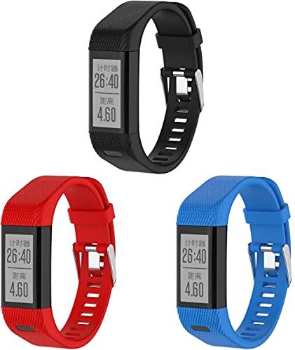 Chainfo Compatible con Garmin Vivosmart HR+ Plus/Approach X10 / Approach X40 Correa de Reloj, Banda de Reemplazo Silicona Suave Sports Pulsera (3-Pack G)