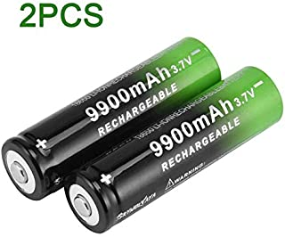graceUget 3.7V 18650 Lithium Batteries 9900mAh Li-ion Rechargeable Battery Charger for LED Flashlight Torch Black & Green
