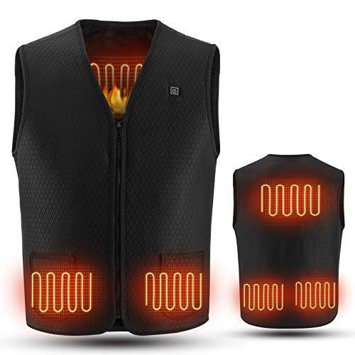 Women Men Heated Vest with 10000mAh battery, Washable USB Charging Electric Heated Jacket (L)