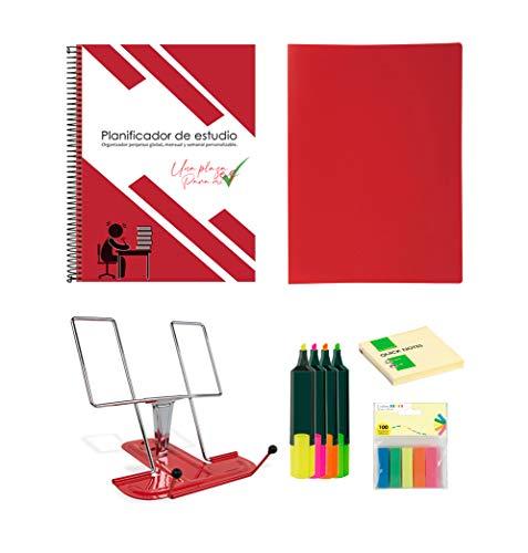 Morla Pack organizador de estudio oposiciones selectividad exámenes. Incluye atril, post it, banderitas separadoras, rotuladores fluorescentes, carpeta de fundas y planner mensual/semanal A4.