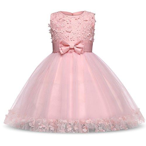 NNJXD Mädchen Kinder Blume Stickerei Spitze Hochzeit Brautjungfer Prinzessin Kleidergröße (130) 5-6 Jahre Rosa