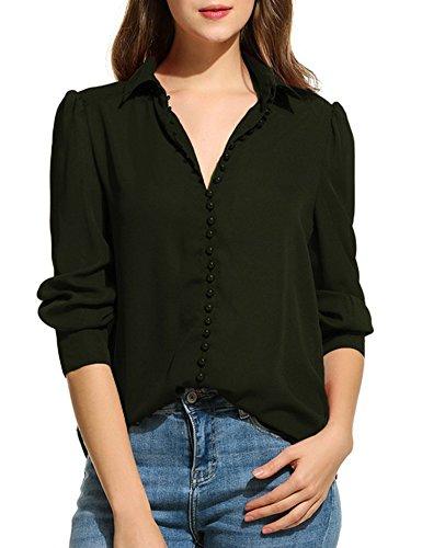 Zeagoo Women Long Sleeve Button Down Chiffon Blouse Shirt Solid Top, Black, Small