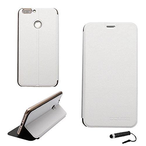 Ycloud Tasche für Oukitel U20 Plus Hülle, PU Ledertasche Metal Smartphone Flip Cover Hülle Handyhülle mit Stand Function Weiß