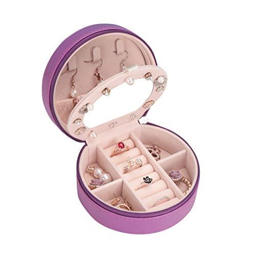 Botanka Travel Jewelry Box Organizer Purple Jewelry Box Small Earring Organizer Gift for Women (Purple)