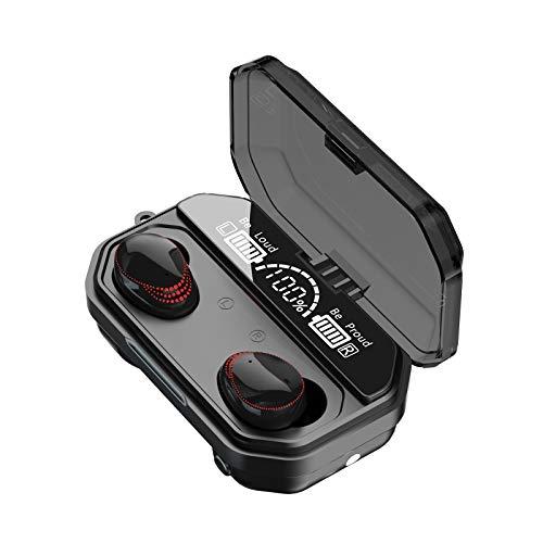 SUN JUNWEI Auriculares Bluetooth 5.1deportivos internos inalámbricos Control táctil IPX7 Auriculares con cancelación de Ruido CVC8.0 a Prueba de Agua Pantalla Digital LED con micrófono