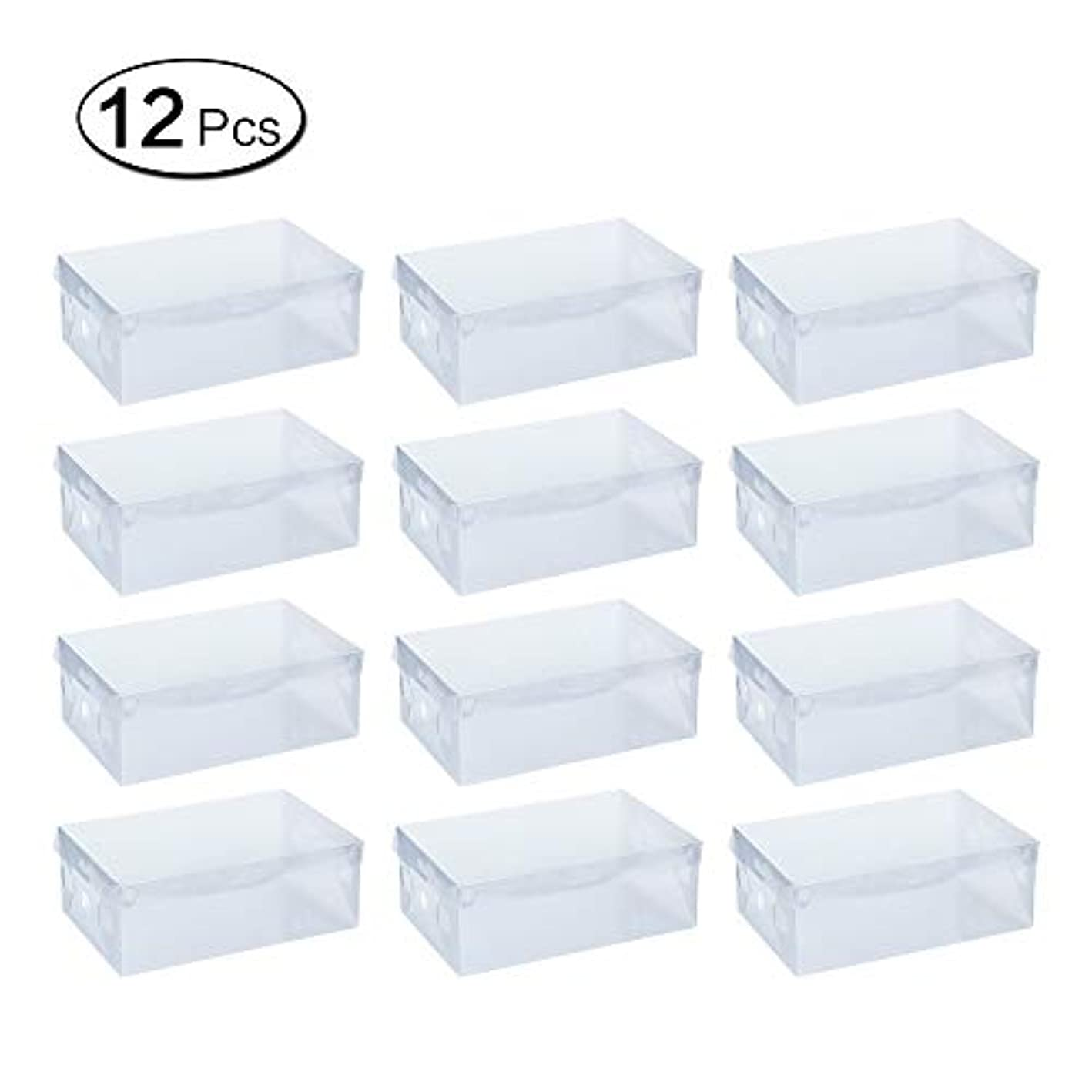 LANGING 12Pcs Plastic Shoe Boxes Stackable Clear Storage Boxes Foldable Shoes Container Organiser