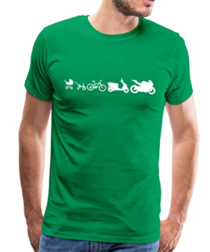 Evolution Motorrad Biker Roller Fahrrad Kinderwagen Männer Premium T-Shirt, M, Kelly Green