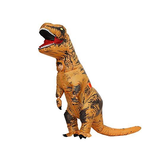 Disfraz inflable de dinosaurio para adulto T-Rex Fancy Dress Christmas Game Cosplay Dress para Halloween Disfraz inflable infantil (marrn, M)