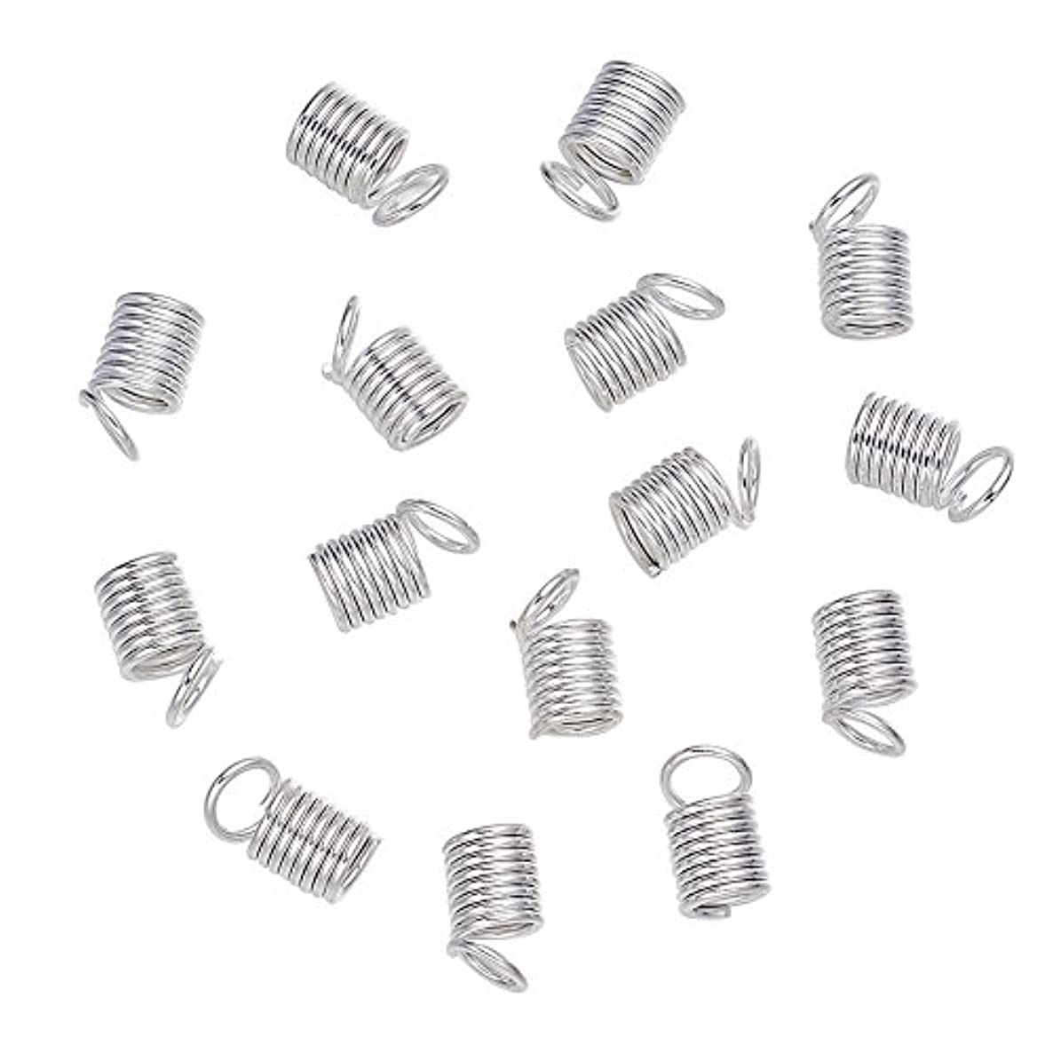 Pandahall 200pcs Silver Iron Tube Coil Cord Ends Cord Cap Tip Leather Cord Ends Caps Necklace Spring Fastener Crimp Clasp Jewelry Making 9x5mm
