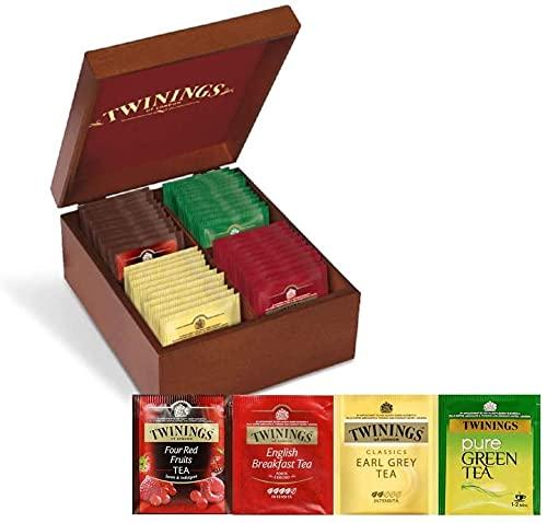 Twinings Degustazione Confezione Regalo Scatola in Legno - 40 filtri: English Breakfast Tea, Earl Grey Tea, Red Fruits e Pure Green Tea - Idea Regalo Natale