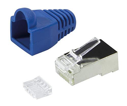 Faconet® 20er Pack RJ45 Crimpstecker Netzwerkstecker CAT 5e CAT 6 STP geschirmt mit Einfädelhilfe und Hülle Knickschutz in Blau, Stecker für Patchkabel LAN Kabel