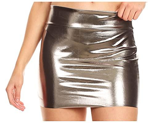 Sakkas 6924 Women's Shiny Metallic Liquid Mini Skirt - Pewter - Small