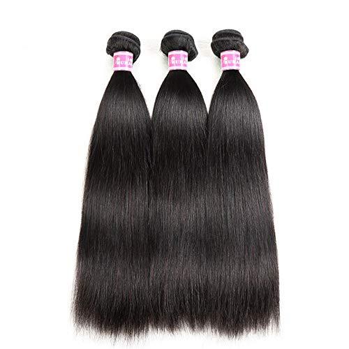 Perruque de cheveux humains naturels, longs et lisses, souples, doux, sans nœuds, 35,6 cm