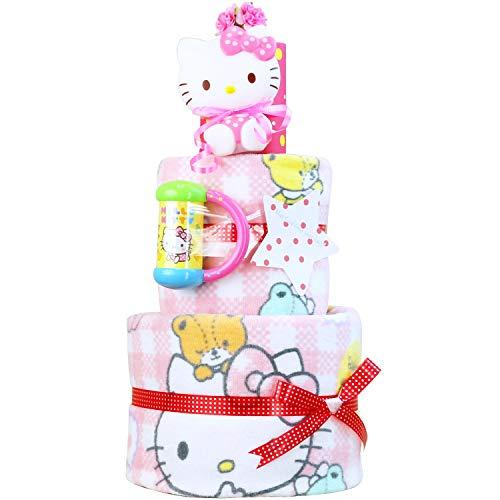 サンリオ ハローキティ おむつケーキ 女の子 キティちゃん 名入れ刺繍 3段 出産祝い オムツケーキ バスタオル Hello Kitty (メリーズパンツタイプLサイズ)