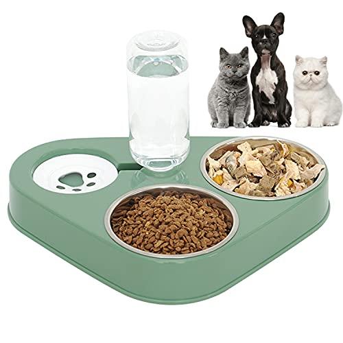 doepeBAE Inoxidable Cuenco del Gato Doble Tazón, 3 en 1 Cuenco del Gato Cuenco,500ml Dispensador Automático de agua para Mascotas Comedero para Comida y Agua Extraíble y Fácil de Limpiar