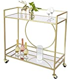 UMI. by Amazon Gold Drinks Kitchen Trolley Serving Bar Cart on Wheels with Mirror Shelves for Home, Living Room